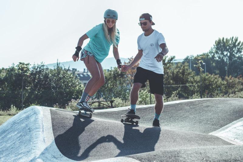 skaters surf skate pump track
