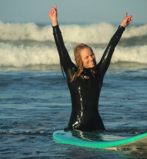 surf student at surf school in galicia spain
